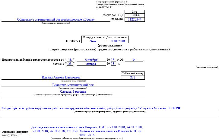 Изображение - Приказ об увольнении за прогул - оформление и образец 848_obrazec_prikaza_ob_uvol_nenii_za_progul1