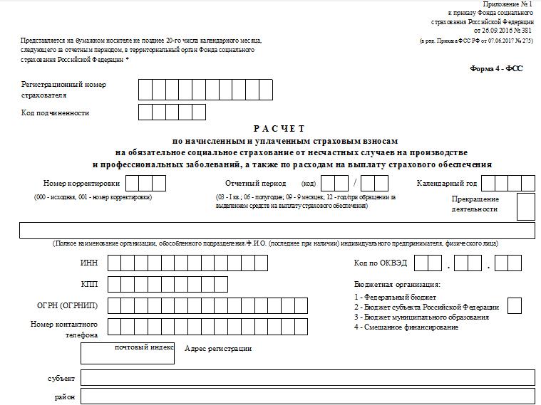 Образец заполнения формы 4-ФСС