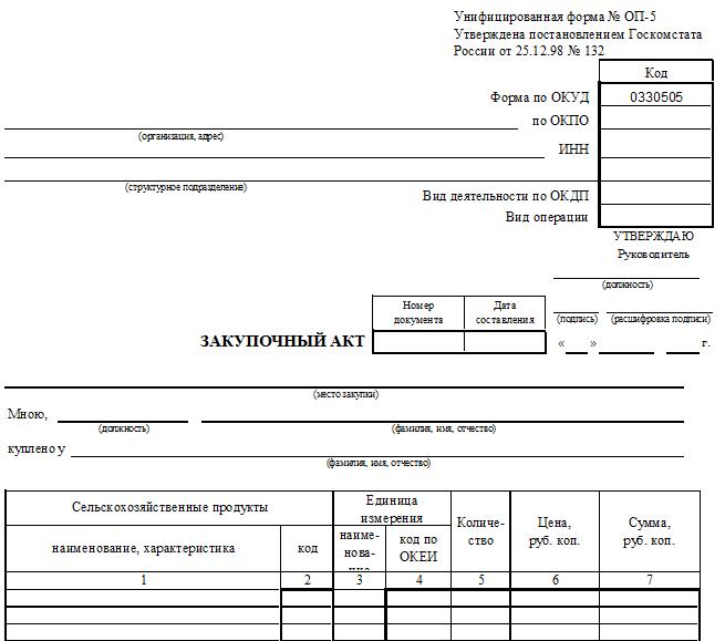 Унифицированная форма № ОП-5 - закупочный акт
