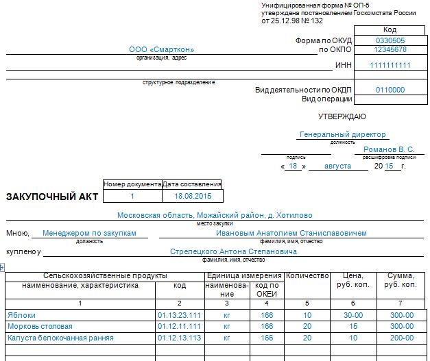 Закупочный акт форма оп-5 образец скачать