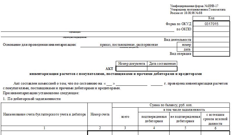 Унифицированная форма № ИНВ-17 - бланк и образец