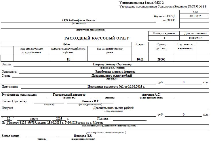 Расходный кассовый ордер образец заполнения 2015