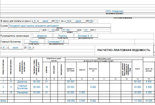 Расчетно-платежная Ведомость Форма Т-51