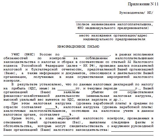 Форма информационного письма