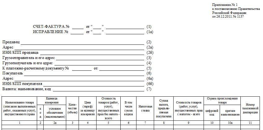счет фактура об оказании транспортных услуг образец