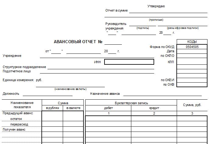 авансовый отчет бланк 2016 скачать форма 0504505 img-1