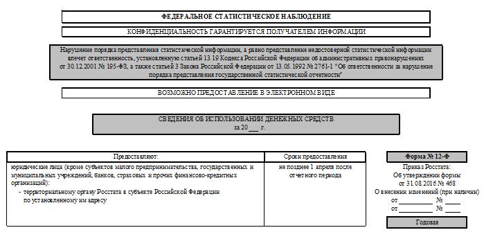 форма 12-ф за 2015 год скачать бланк