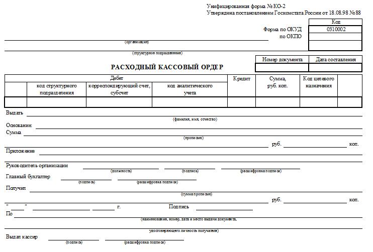 бланк расходно-кассового ордера по форме №  КО-2