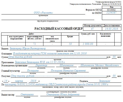 Образец заполнения расходного кассового ордера в подотчет