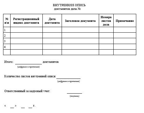 Опись документов личного дела образец скачать