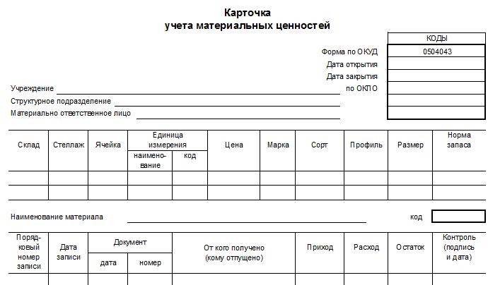таблица материальных ценностей образец