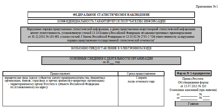 форма 1-предприятие за 2015 год приказ 263 от 09.06.15 бланк