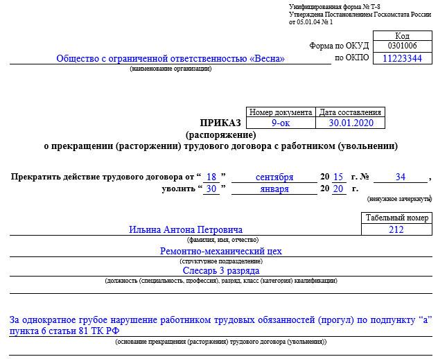 Трудовые книжки. Записи об увольнении работника по инициативе работодателя (ст. 81 ТК РФ)