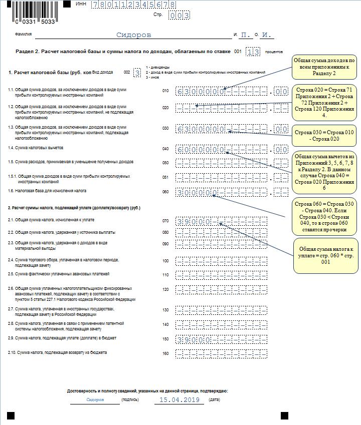 Пример заполнения страницы 3 декларации 3-НДФЛ