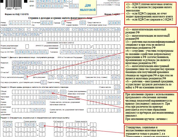 Справка по форме 2-НДФЛ за год - образец заполнения