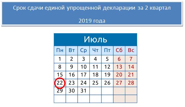 Образец единой упрощенной декларации за 1 квартал 2019 года