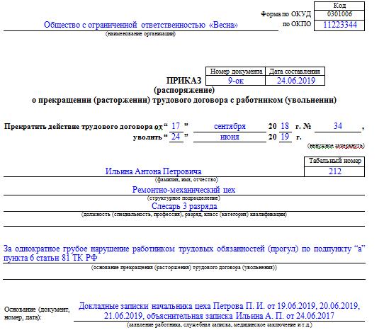 Образец приказа на увольнение из-за прогула, составленного на бланке формы Т-8