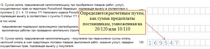 Место строки 130 в декларации по НДС