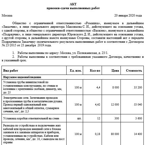 Как формируется акт выполненных работ по договору подряда в 2019 году