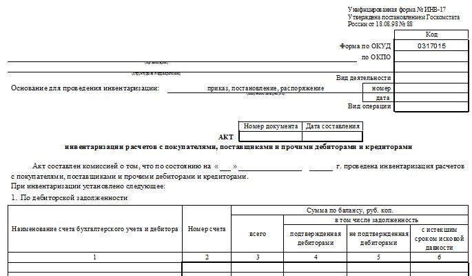 Расшифровка дебиторской и кредиторской задолженности образец  Форма ИНВ 17