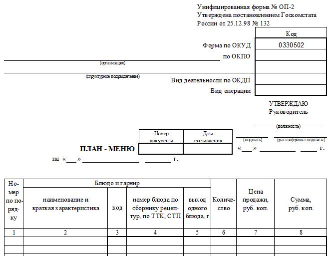 Форма ОП-2