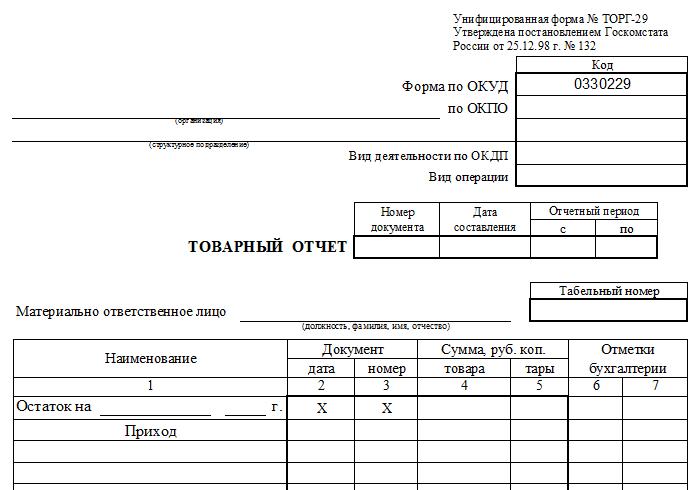Материальный отчет бланк скачать бесплатно торг 29