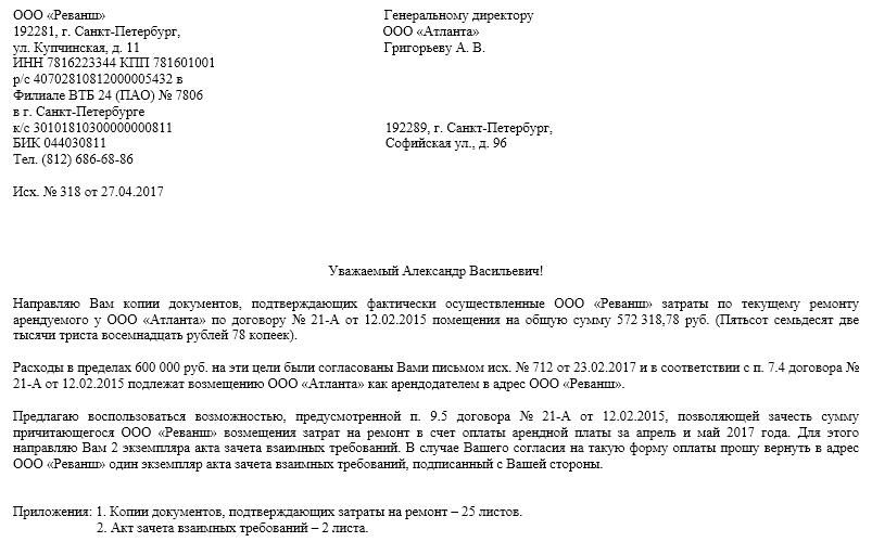 образца письма арендатора арендодателю
