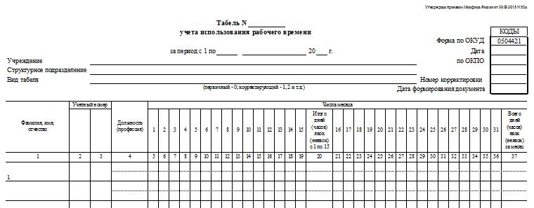 Табель 0504421 образец заполнения по 52-н