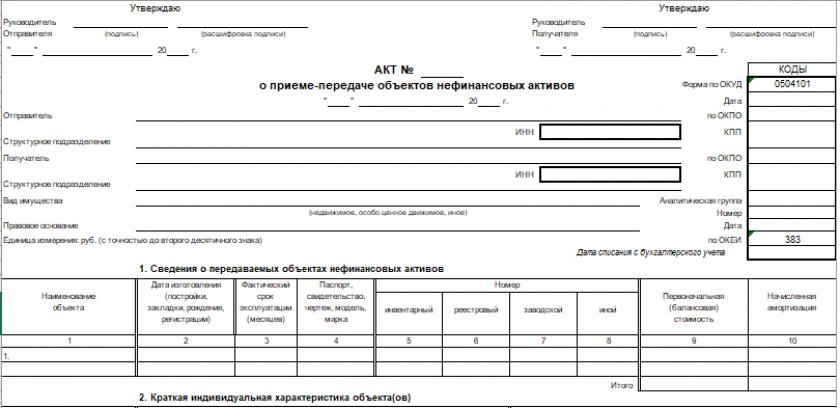 Акт о приеме-передаче объектов нефинансовых активов (форма 0504101)