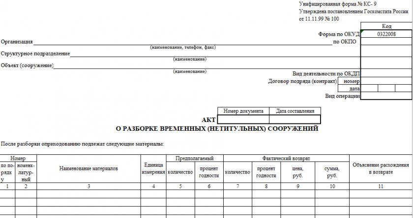 Акт о разборке временных (нетитульных) сооружений по форме КС-9