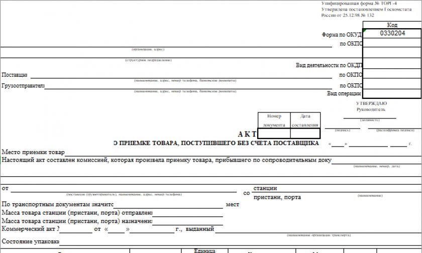 Акт о приемке товара, поступившего без счета поставщика (ТОРГ-4)