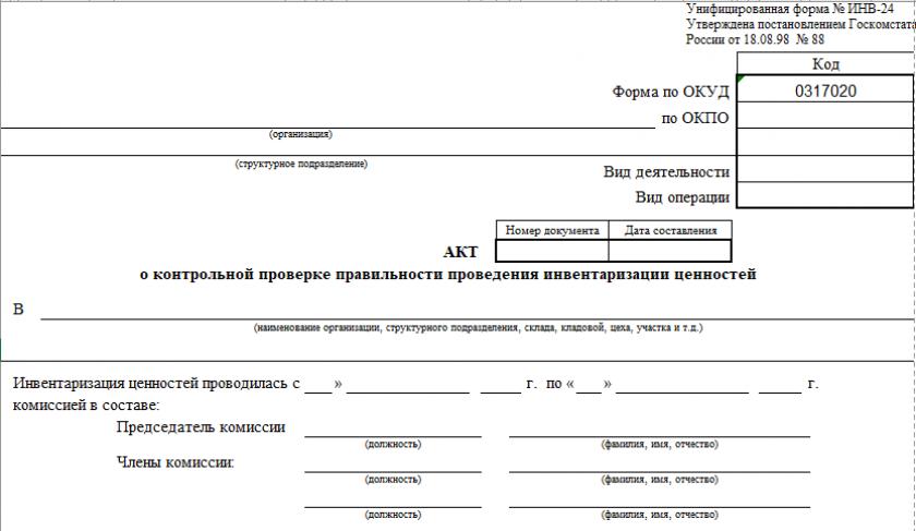 Акт о контрольной проверке правильности проведения инвентаризации ценностей по форме № ИНВ-24