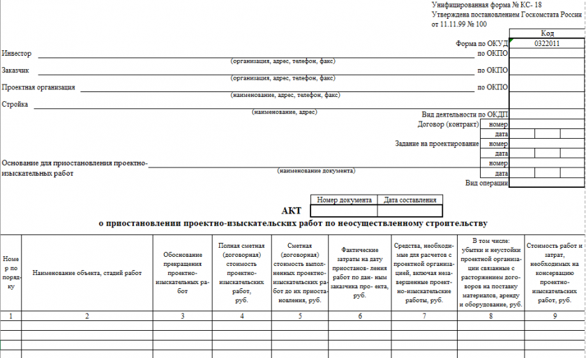 Акт о приостановлении проектно-изыскательских работ по неосуществленному строительству по форме № КС-18