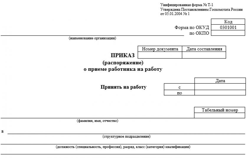 Бланк унифицированной формы № Т-1