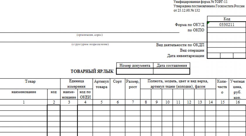 Товарный ярлык по форме № ТОРГ-11