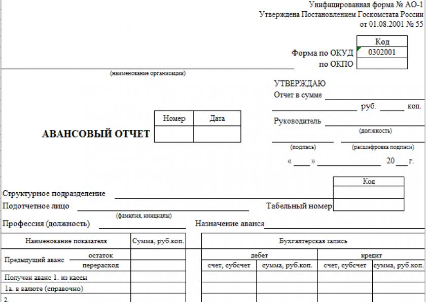 Авансовый отчет № АО-1