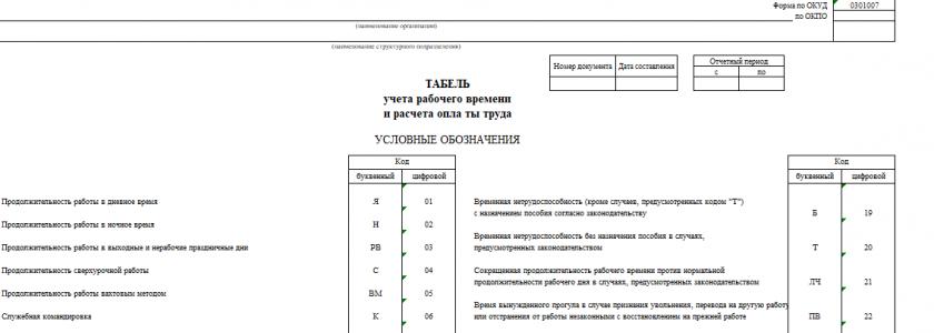 Бланк табеля учета рабочего времени по форме Т-12