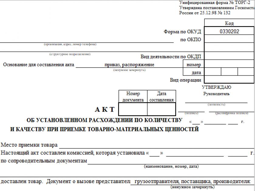 Форма ТОРГ-2 - Акт об установленном расхождении по количеству и качеству при приемке ТМЦ