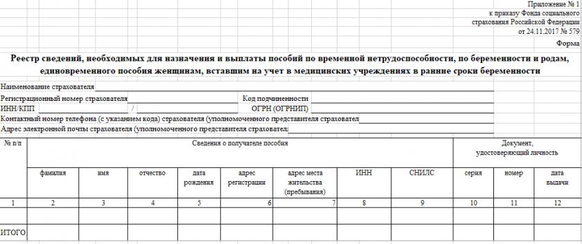 Бланк реестра сведений , необходимых для назначения и выплаты пособий по временной нетрудоспособности