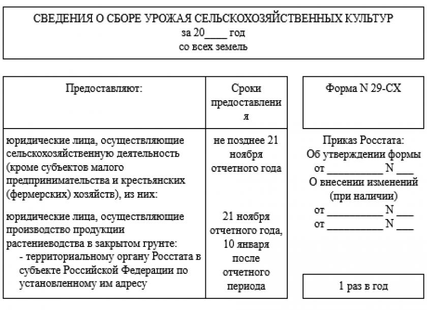 Форма № 29-СХ в статистику